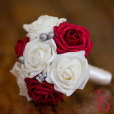 red and cream holiday bouquet flower girl or toss bouquet