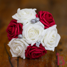 cream and red wedding holiday bouquet silk artificial flowers glitter accent
