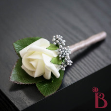 platinum gray and ivory wedding boutonniere
