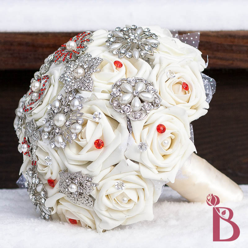 Silk Wedding Flowers In Maryland : Cream red brooch bouquet md more colors the bridal flower