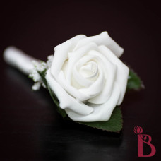 silk boutonniere white rose wedding prom with leaves baby's breath