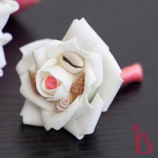 coral seashell boutonniere buttonhole with shells
