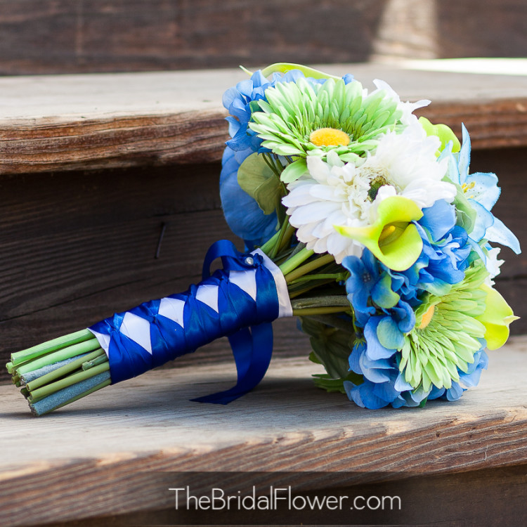 Blue Green Flower Lime Green And Blue Custom