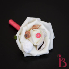 coral seashell boutonniere buttonhole with small shells and ivory rose for beach wedding prom