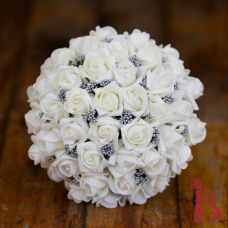 cream and gray soft touch wedding bouquet