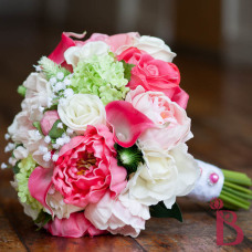 real touch wedding bouquet peony peonies roses calla lilies viburnum babys breath pearls lace garden wedding spring colors fuchsia pink green