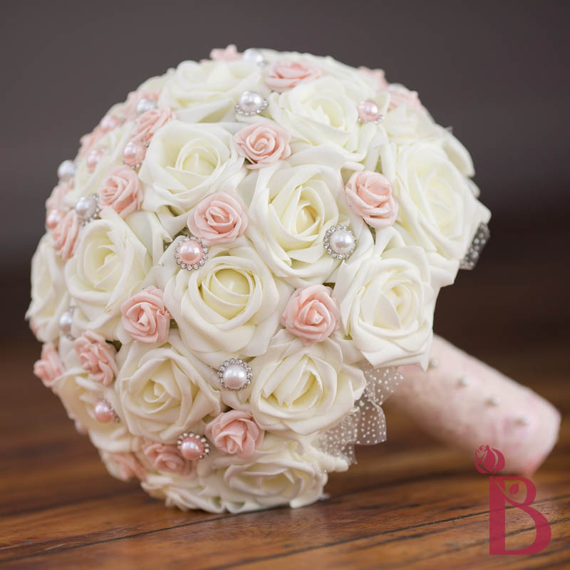 Bridal Flowers Blush Pink : Blush pink pearled wedding bouquet lg more colors the