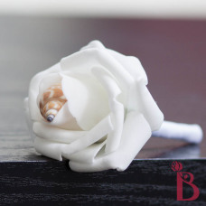 white wedding boutonniere with shell babylonia in the middle for prom or wedding groom father groomsmen