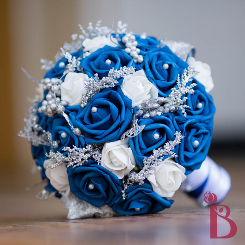 Wedding Bouquet Royal Blue And Silver: Thebridalflower on artfire ...