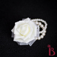 ivory wedding corsage pearl bracelet with ribbons prom corsage