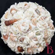 cream seashell bouquet ivory wedding bouquet with pearl pins and shells