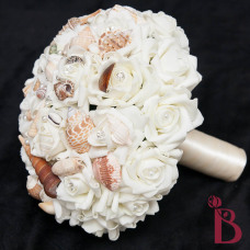ivory wedding bouquet with shells for beach