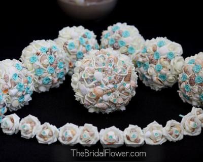 tiffany blue seashell wedding bouquet set with aqua rosettes