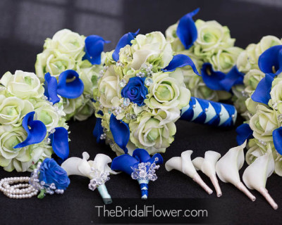 royal blue light green wedding bouquet calla lily hydrangea rose crystals real touch