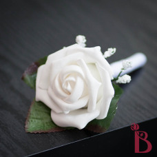 white wedding boutonniere white rose baby's breath leaves classic