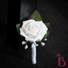 classic white wedding boutonniere silk wedding flower groom