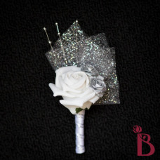 silver winter boutonniere tulle and pearls