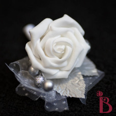 winter boutonniere silver glitter white rose groom silk flower