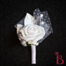 white rose and silver accent rose boutonniere with tulle and glitter ball