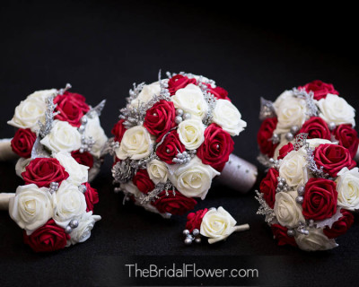red and cream holiday bouquet silver accents christmas wedding