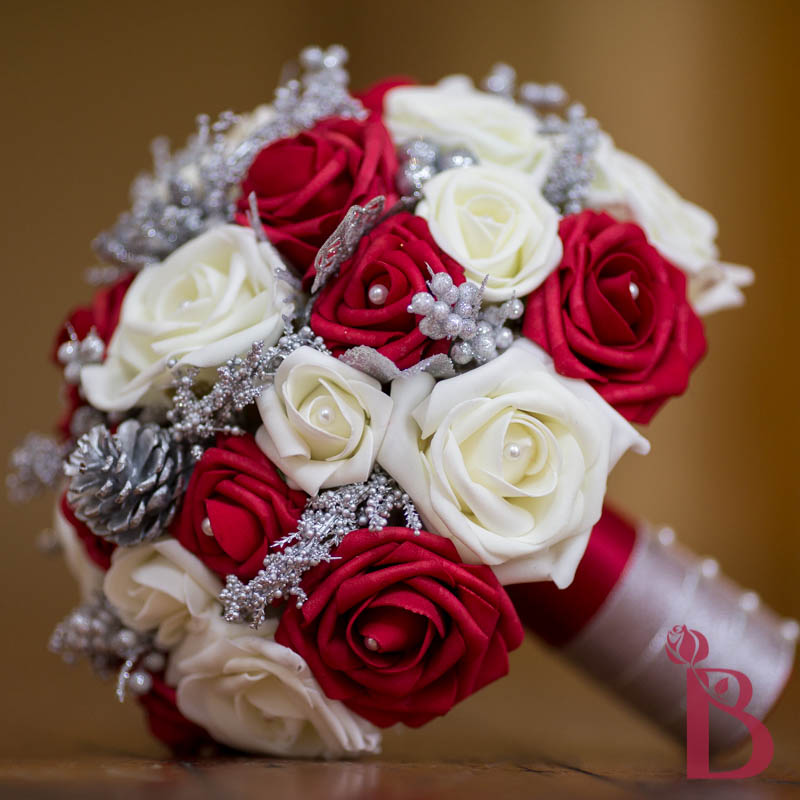 Winter wedding bouquet red cream lg more colors the bridal flower