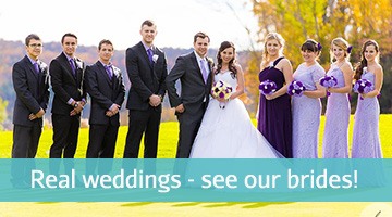 Real brides with wedding bouquets by the bridal flower, photo of bride and groom and bridal party in lavender and purple