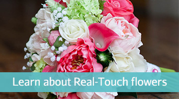 What are real touch flowers or natural touch flowers, photo of a bouquet with real touch peonies calla lilies roses and greenery