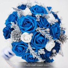 royal blue and silver pinecones bouquet winter wonderland