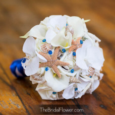 starfish and seashell silk wedding bouquet with roses calla lilies and silk orchids and seashells