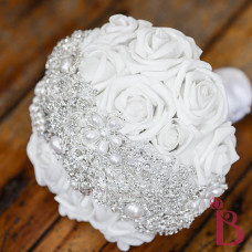 white roses wedding bouquet brooches silver metal crystal brooch bouquet
