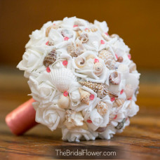 faux flower bouquet real feel coral seashell