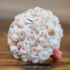 coral wedding bouquet sea shells davids bridal
