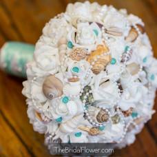 seashell wedding bouquet aqua tiffany blue ocean beach