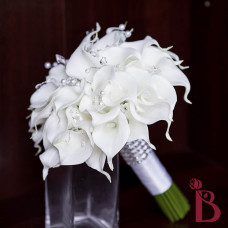 white wedding bouquet with silver and pearl accents real feel calla lilies