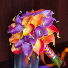 real touch orange and purple wedding bouquet yellow and flame colors