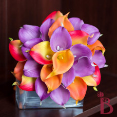 orange lavender purple real touch calla lily bouquet for fall wedding
