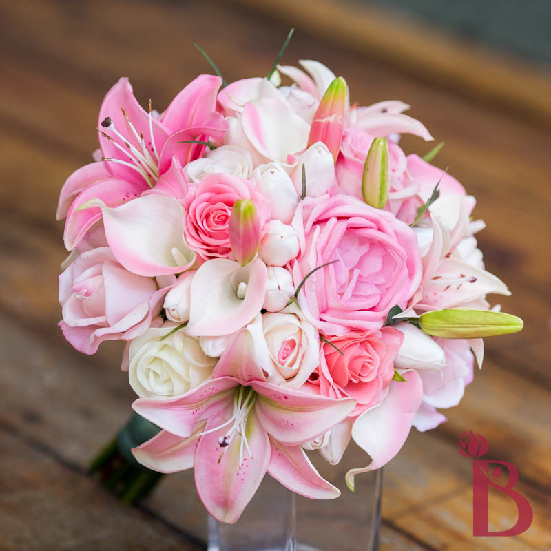 Wedding Flowers Roses And Lilies : Roses tulips lilies pink tropical bouquet lg the bridal
