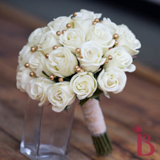 ivory cream and old gold realtouch wedding bouquet with gold pearls real feel rosebuds lace