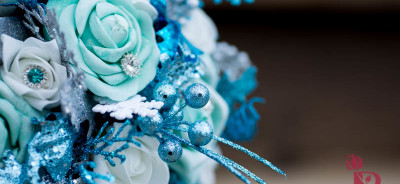 frozen disney wedding bouquet inspired winter wonderland silk flowers turquoise aqua tiffany blue silver colors glitter sparkle