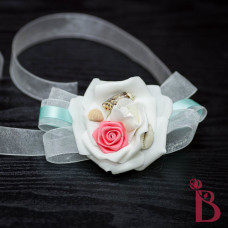 coral and tiffany blue aqua corsage wrist style for weddings beach prom