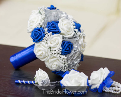 royal blue silver wedding bouquet artificial silk flowers with groom boutonniere wrist corsage with pearl bracelet
