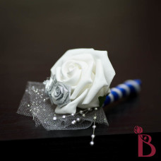 wedding boutonniere with silver royal blue and white