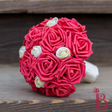 watermelon guava wedding bouquet bridesmaid bridal with ivory rose buds and cream handle for beach or any wedding