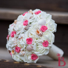 wedding bouquet artificial silk flowers cream roses soft touch flower seashells and coral rosettes for beach wedding