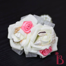 silk wedding corsage two roses and ribbons coral rosettes