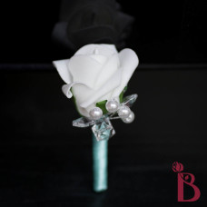 single white rosebud rose boutnniere artificial flower button hole