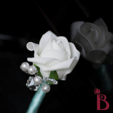 white rosebud with tiffany blue aqua accent and crystals