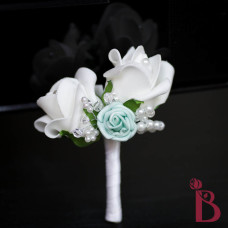 white and tiffany blue aqua mini rose pearls and crystals wedding prom or special occasion