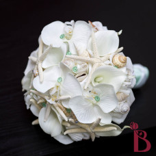 silk wedding bouquet mint green seashell starfish orchids calla lilies real touch and star fish for beach weddings
