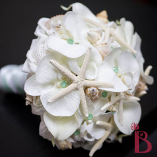 white finger pencil starfish and shells wedding bouquet mint light pastel green and silk orchids real touch natural calla lilies